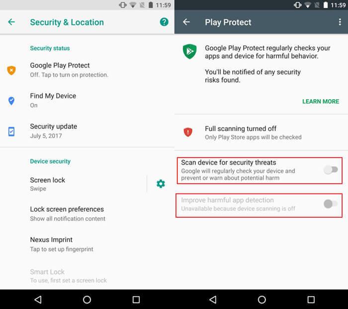 Disable Improve harmful app detection